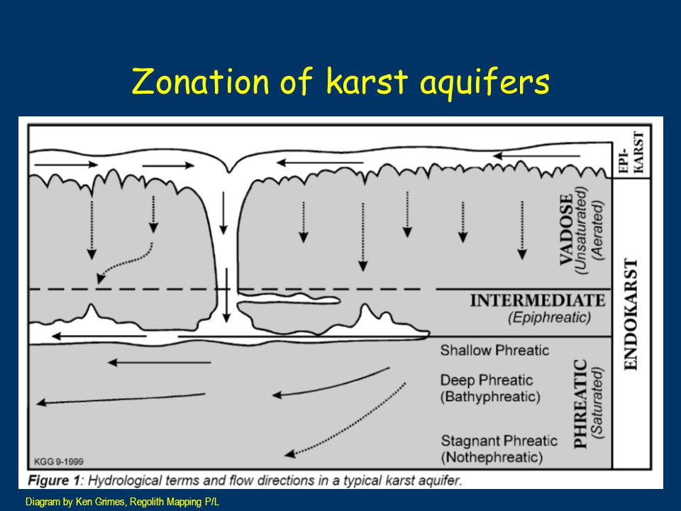Porosity types and karst aquifer properties Primary porosity Secondary porosity Conduit porosity ComponentsPore spaces Vughs Linked joints and fractures Open channels and pipes Flow regimeLaminarLaminar to just turbulent Turbulent Governing lawDarcyHagen- Poseuille Darcy- Weisbach Response to input water Slow <1mm/day Moderate 1-10 metres/day Rapid 100s of metres/day Gillieson D 1996 Caves: Processes, Development, Management, Blackwells