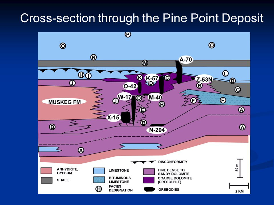 Cross-section through the Pine Point Deposit
