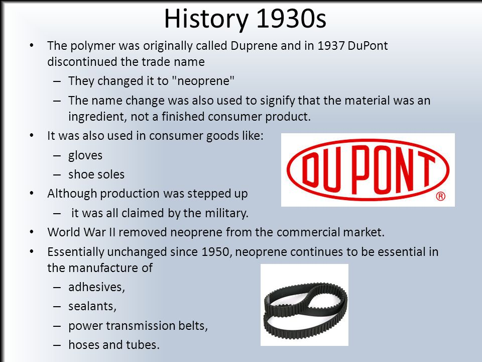 History 1950s It wasn t until the 1950s that neoprene was first used in a wetsuit.