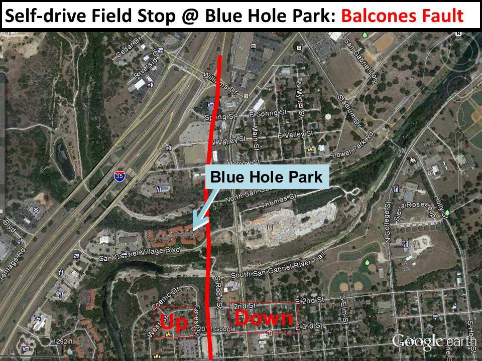 Self-drive Field Stop @ Blue Hole Park: Balcones Fault Up Down Blue Hole Park
