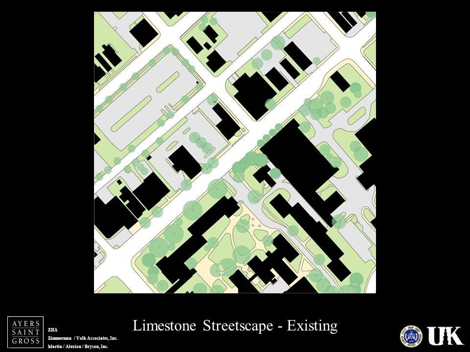 ZHA Zimmerman / Volk Associates, Inc. Martin / Alexiou / Bryson, Inc. Limestone Streetscape - Existing Lime zoom - exist