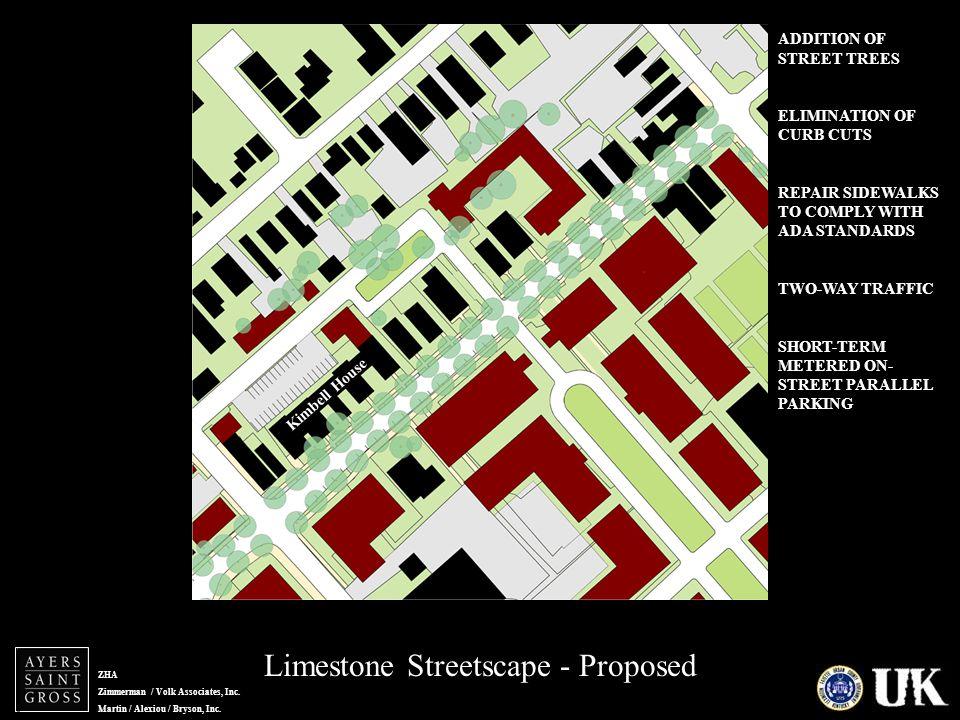 ZHA Zimmerman / Volk Associates, Inc. Martin / Alexiou / Bryson, Inc. Limestone Streetscape - Proposed Lime zoom - proposed Kimbell House ADDITION OF