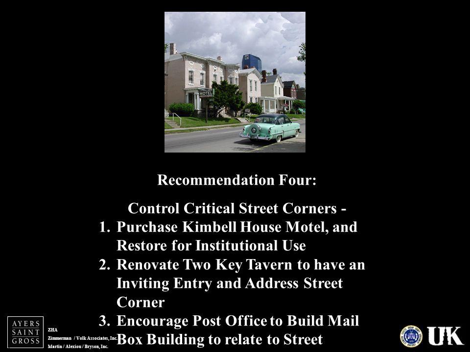 ZHA Zimmerman / Volk Associates, Inc. Martin / Alexiou / Bryson, Inc. Recommendation Four: Control Critical Street Corners - 1.Purchase Kimbell House