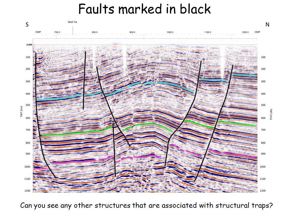Faults marked in black Can you see any other structures that are associated with structural traps