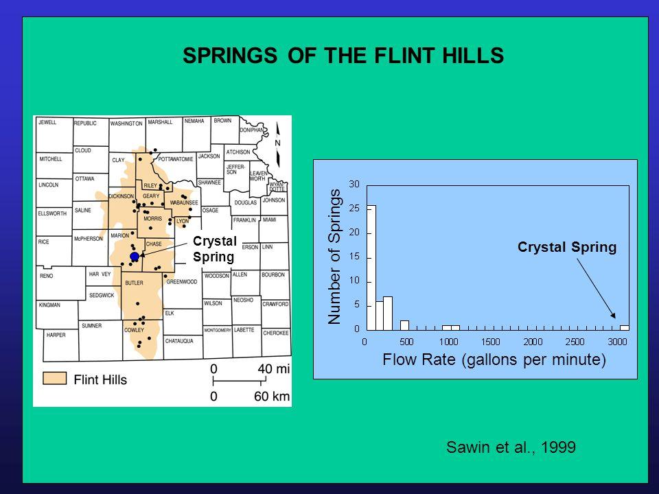 SPRINGS OF THE FLINT HILLS Sawin et al., 1999 Crystal Spring Crystal Spring Number of Springs Flow Rate (gallons per minute)