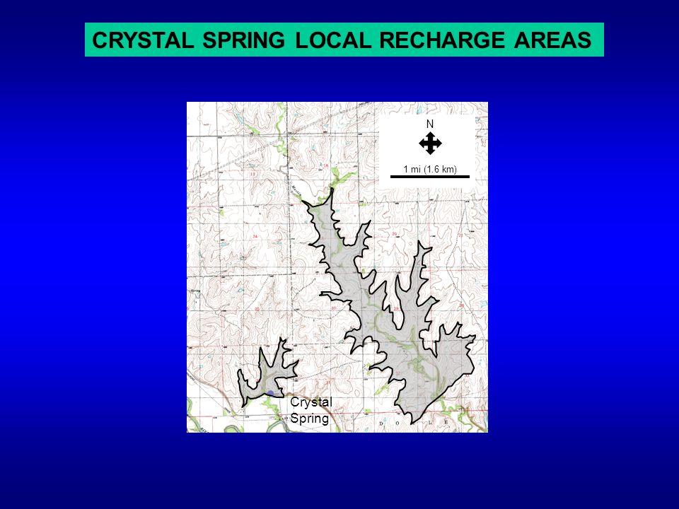CRYSTAL SPRING LOCAL RECHARGE AREAS Crystal Spring 1 mi (1.6 km) N