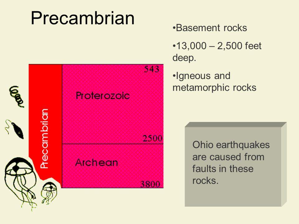 Precambrian Basement rocks 13,000 – 2,500 feet deep.
