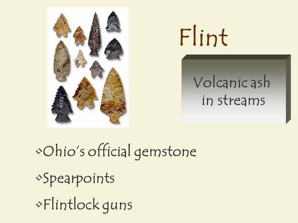 Flint Ohio's official gemstone Spearpoints Flintlock guns Volcanic ash in streams