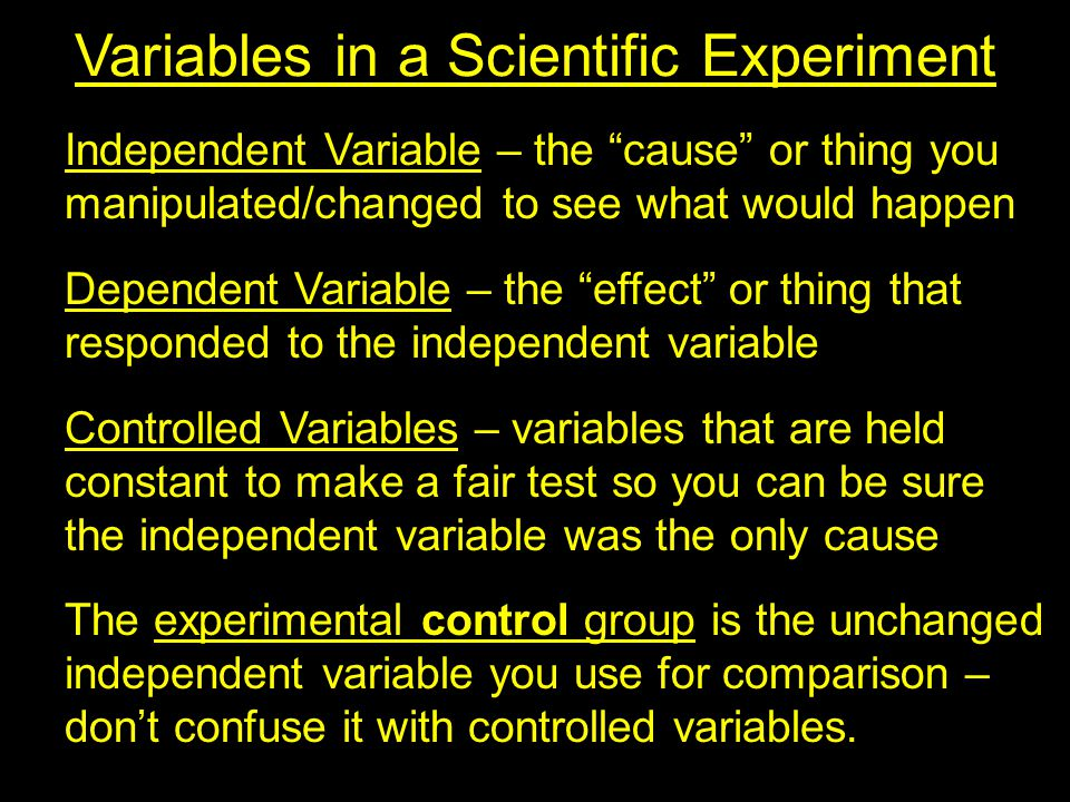 Variables in a Scientific Experiment Independent Variable – the cause or thing you manipulated/changed to see what would happen Dependent Variable – the effect or thing that responded to the independent variable Controlled Variables – variables that are held constant to make a fair test so you can be sure the independent variable was the only cause The experimental control group is the unchanged independent variable you use for comparison – don't confuse it with controlled variables.
