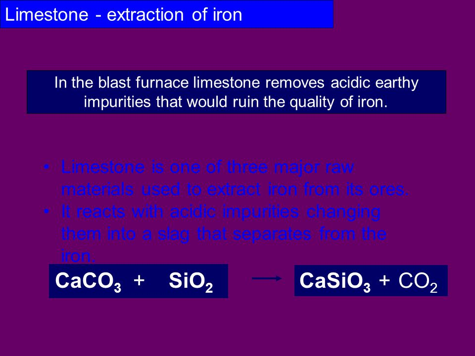 Limestone - extraction of iron Limestone is one of three major raw materials used to extract iron from its ores. It reacts with acidic impurities chan