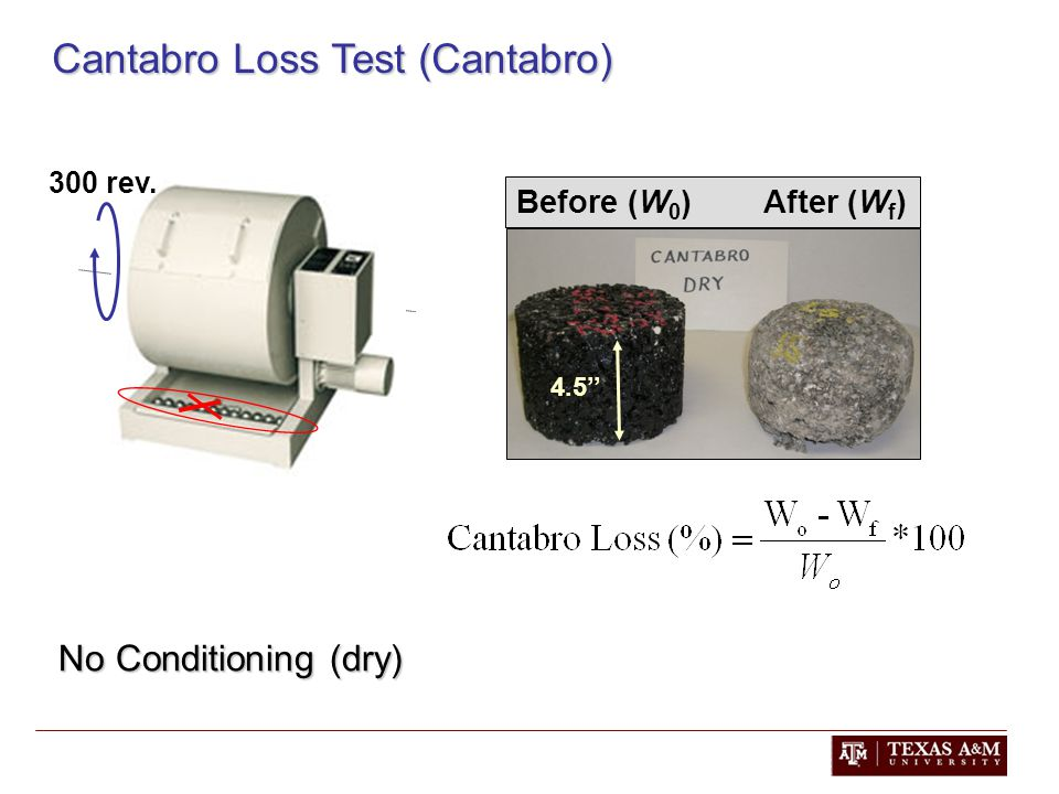 Cantabro Loss Test (Cantabro) No Conditioning (dry) 300 rev. Before (W 0 ) After (W f ) 4.5''