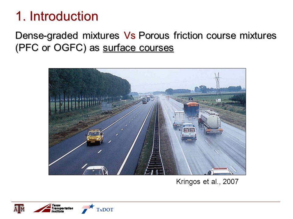 1. Introduction Dense-graded mixtures Vs Porous friction course mixtures (PFC or OGFC) as surface courses Kringos et al., 2007 TxDOT