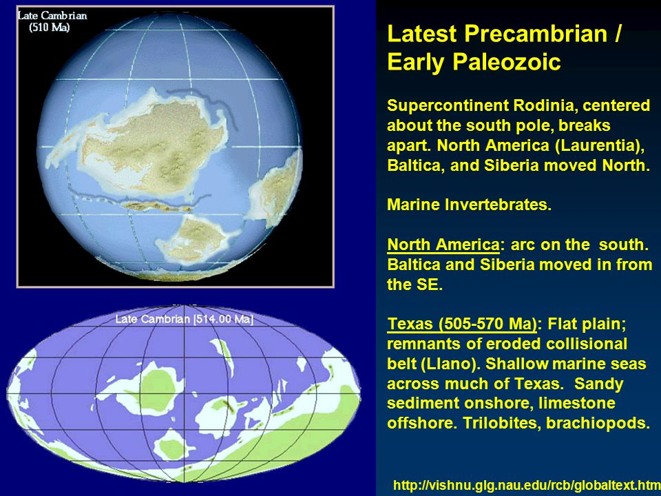 Latest Precambrian / Early Paleozoic Supercontinent Rodinia, centered about the south pole, breaks apart.