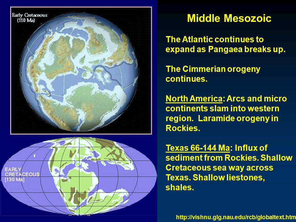 Middle Mesozoic The Atlantic continues to expand as Pangaea breaks up.