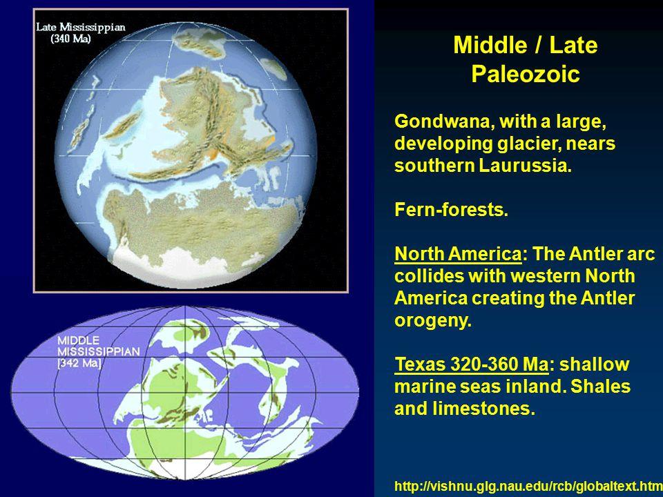 Middle / Late Paleozoic Rodinia blocks of Laurussia and Siberia collide to form Laurasia.