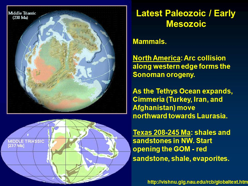 Middle Mesozoic Pangaea rotates; different components at different rates / in different directions -- rifts form.