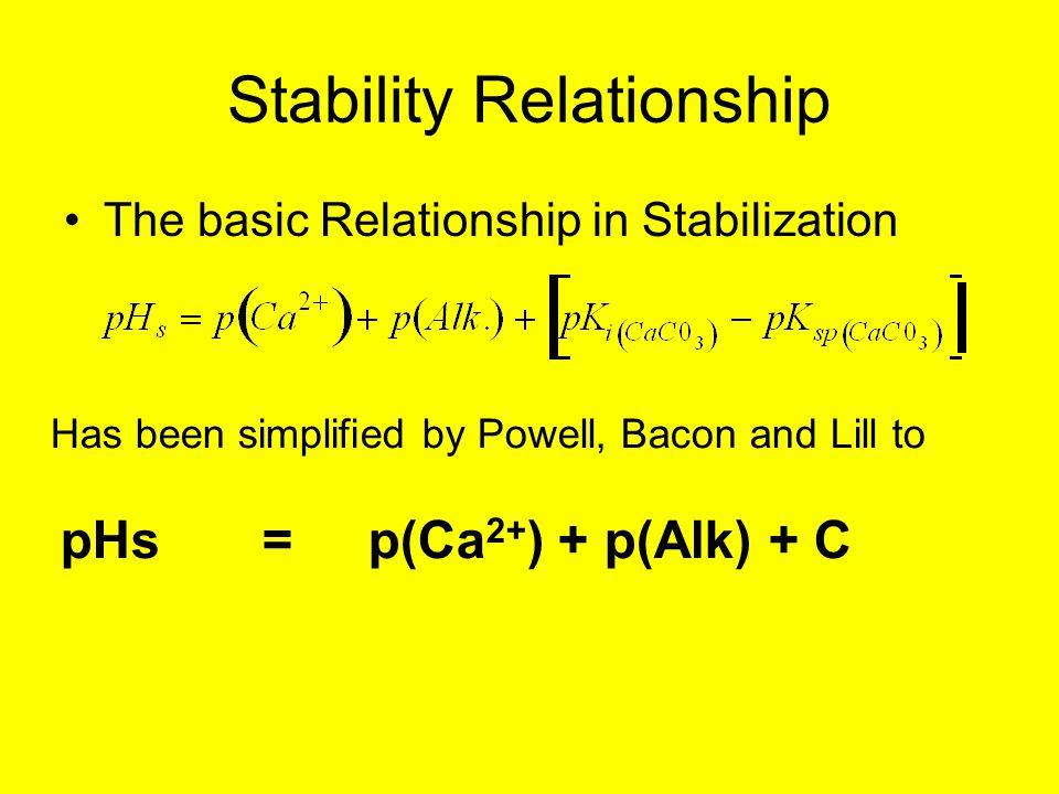 Stability Relationship The basic Relationship in Stabilization Has been simplified by Powell, Bacon and Lill to pHs =p(Ca 2+ ) + p(Alk) + C