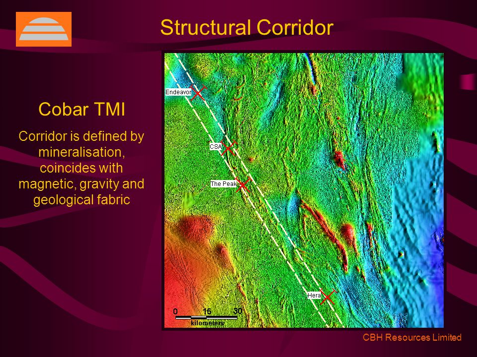 CBH Resources Limited Structural Corridor Cobar TMI Corridor is defined by mineralisation, coincides with magnetic, gravity and geological fabric