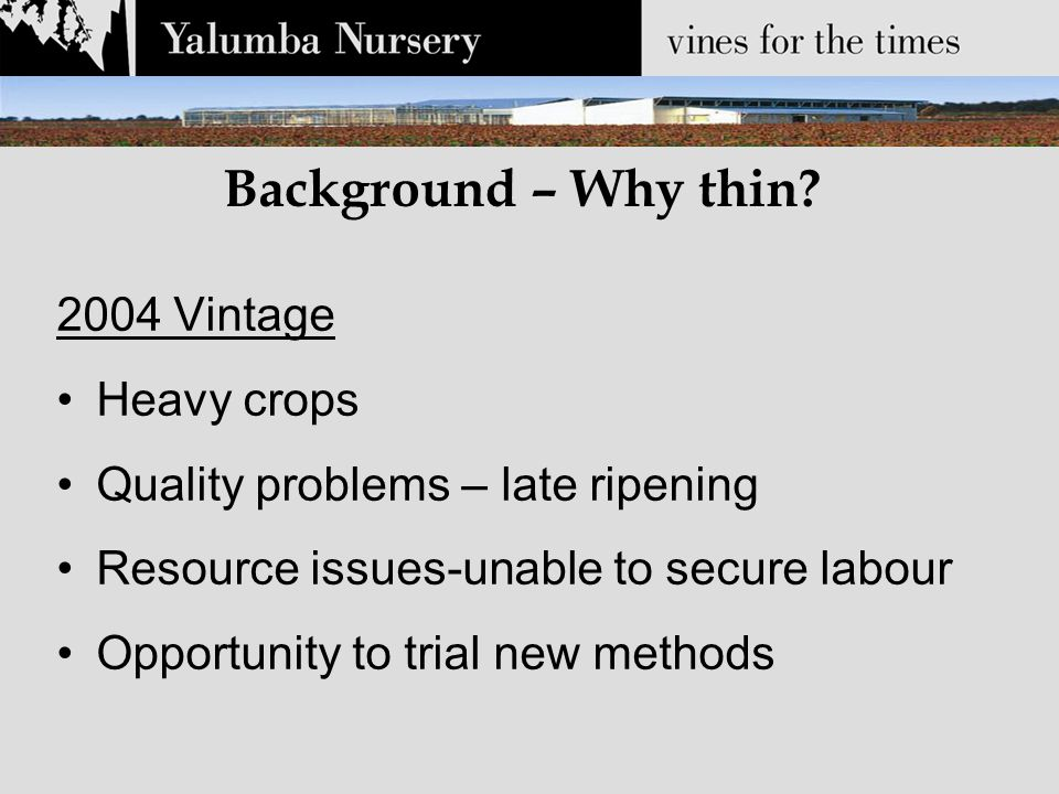 Background – Why thin? 2004 Vintage Heavy crops Quality problems – late ripening Resource issues-unable to secure labour Opportunity to trial new meth