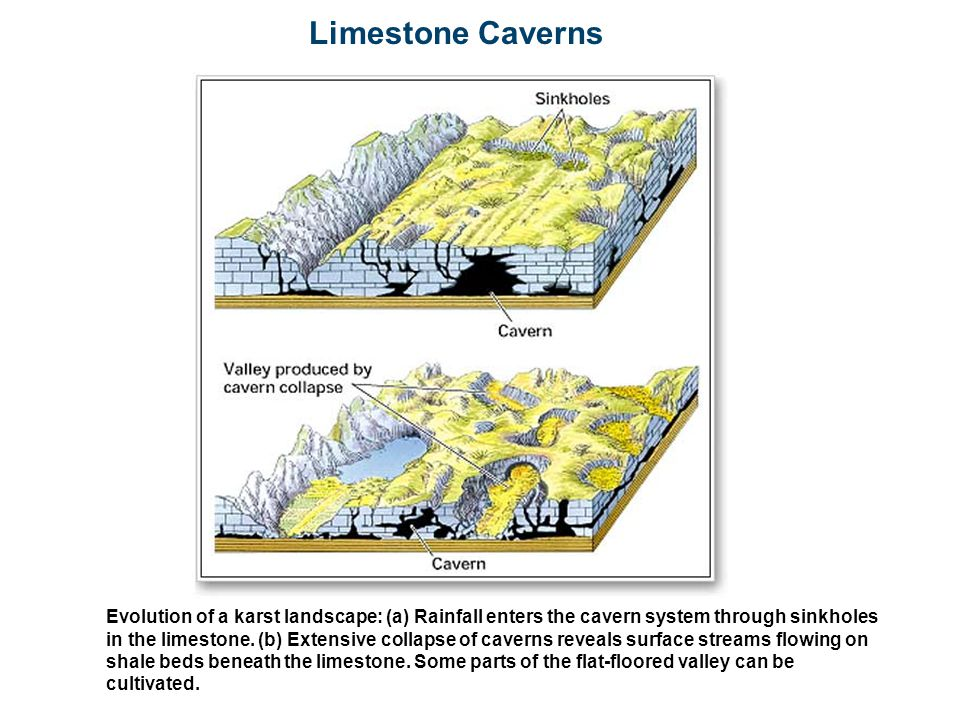 Limestone Caverns Evolution of a karst landscape: (a) Rainfall enters the cavern system through sinkholes in the limestone. (b) Extensive collapse of
