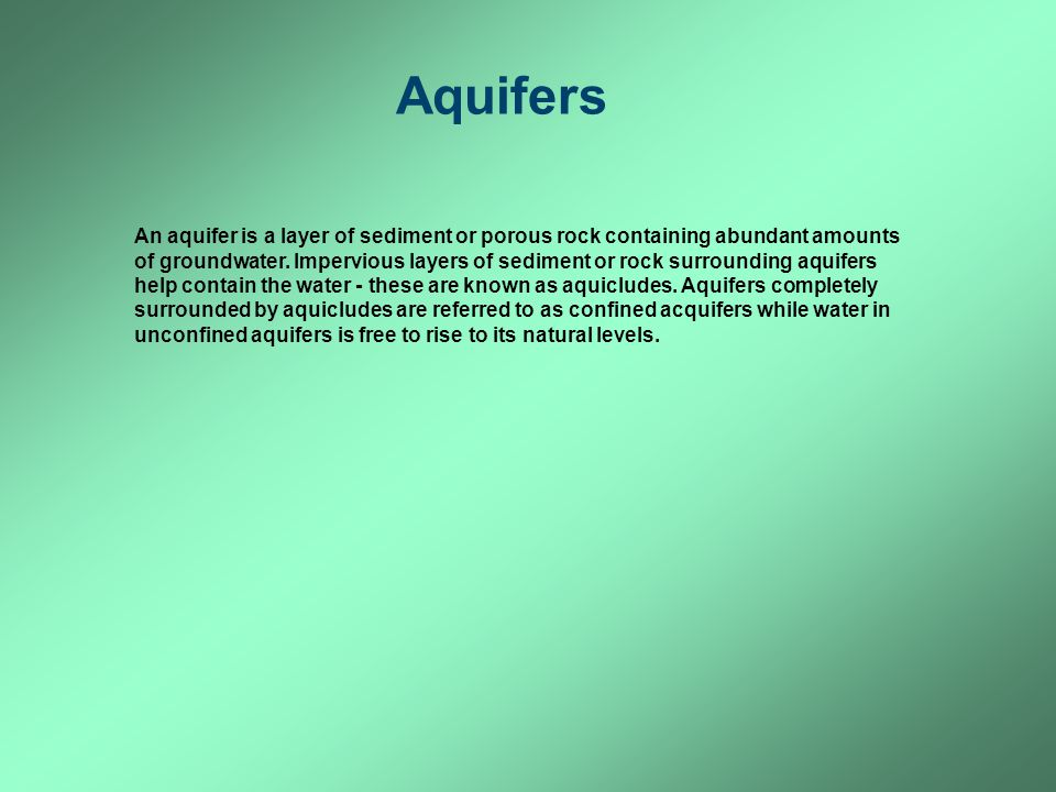 Aquifers Aquifers, confined and unconfined.