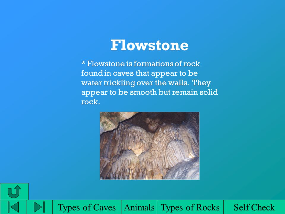 Types of CavesAnimalsTypes of RocksSelf Check Flowstone * Flowstone is formations of rock found in caves that appear to be water trickling over the walls.