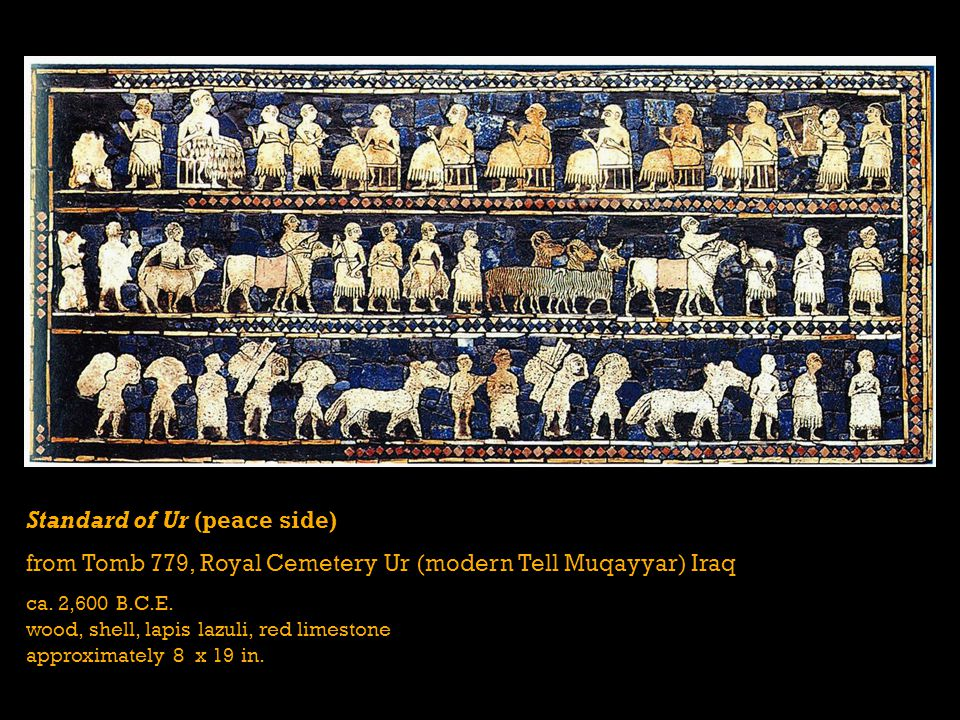 Standard of Ur (peace side) from Tomb 779, Royal Cemetery Ur (modern Tell Muqayyar) Iraq ca.