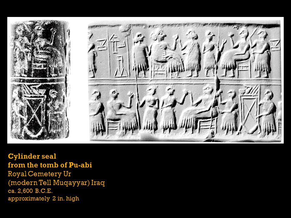Cylinder seal from the tomb of Pu-abi Royal Cemetery Ur (modern Tell Muqayyar) Iraq ca.