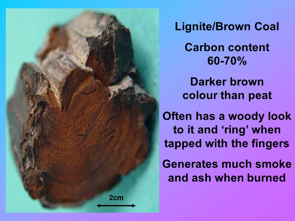 Lignite/Brown Coal Carbon content 60-70% Darker brown colour than peat Often has a woody look to it and 'ring' when tapped with the fingers Generates much smoke and ash when burned 2cm