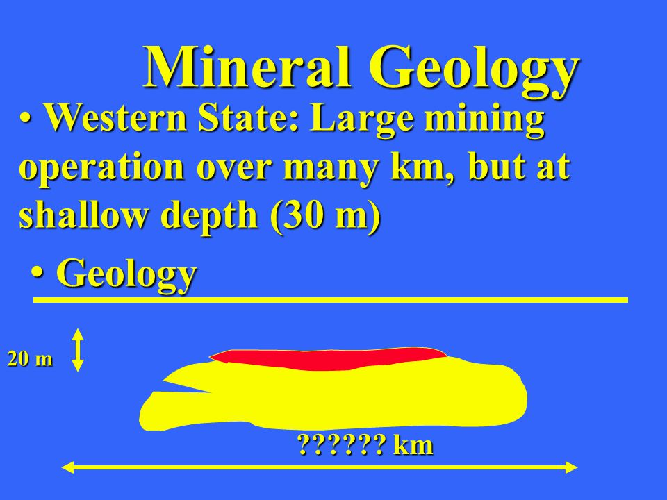 Mineral Geology Western State: Large mining operation over many km, but at shallow depth (30 m) Western State: Large mining operation over many km, bu