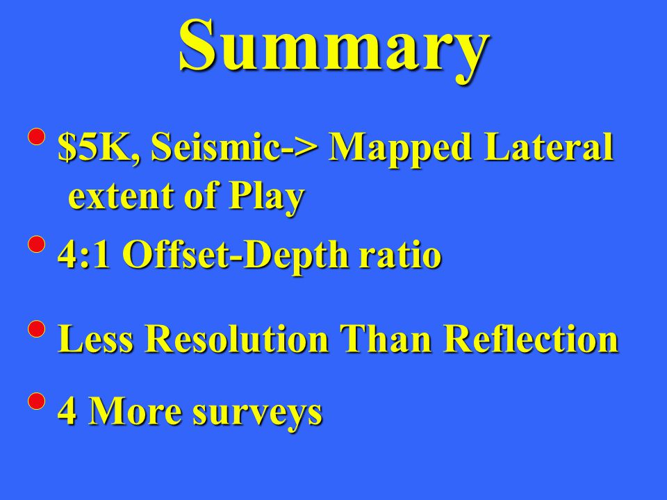 Summary $5K, Seismic-> Mapped Lateral extent of Play extent of Play 4:1 Offset-Depth ratio Less Resolution Than Reflection 4 More surveys