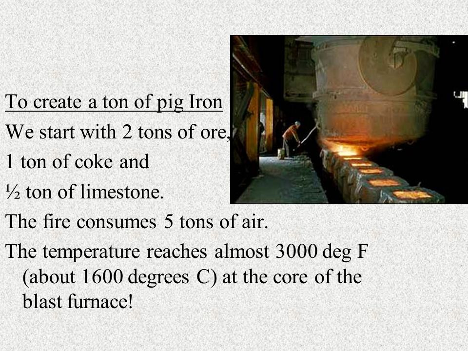 To create a ton of pig Iron We start with 2 tons of ore, 1 ton of coke and ½ ton of limestone.