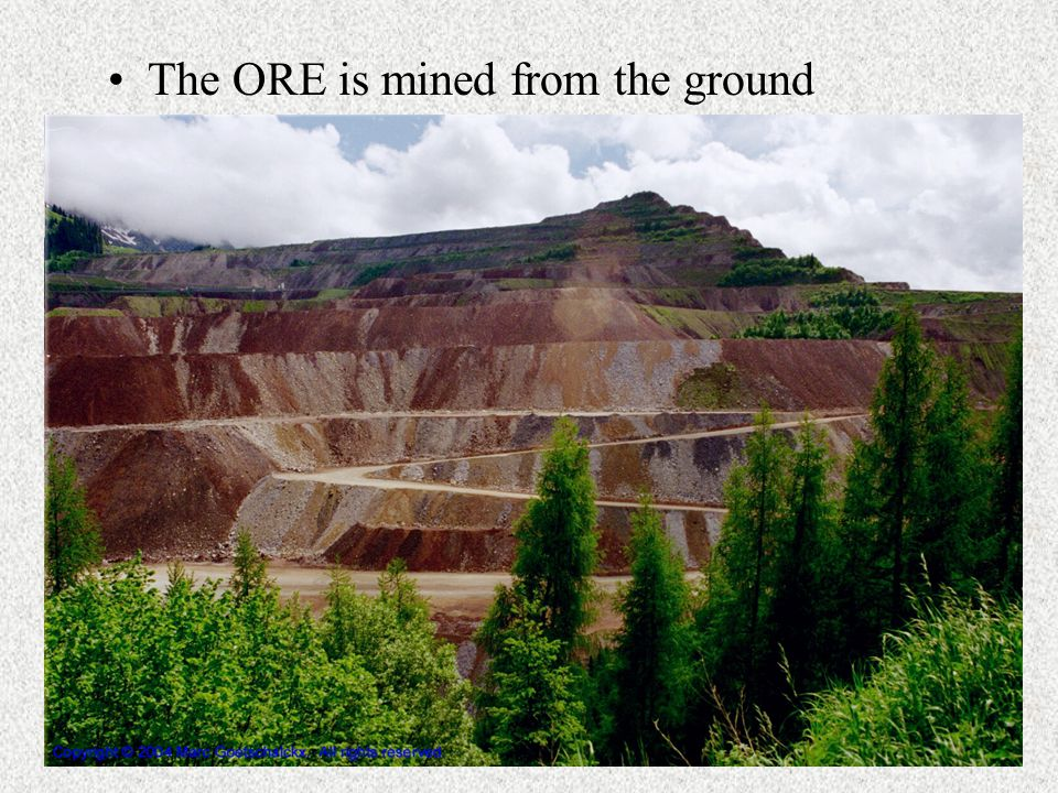 The ORE is mined from the ground