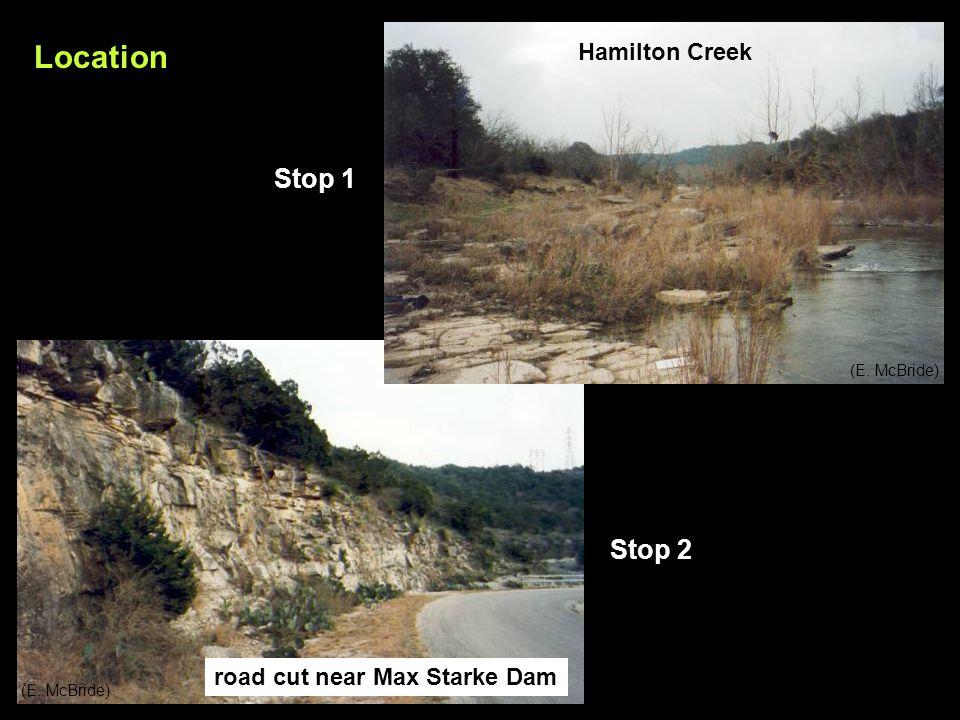 Location Hamilton Creek road cut near Max Starke Dam Stop 1 Stop 2 (E. McBride)