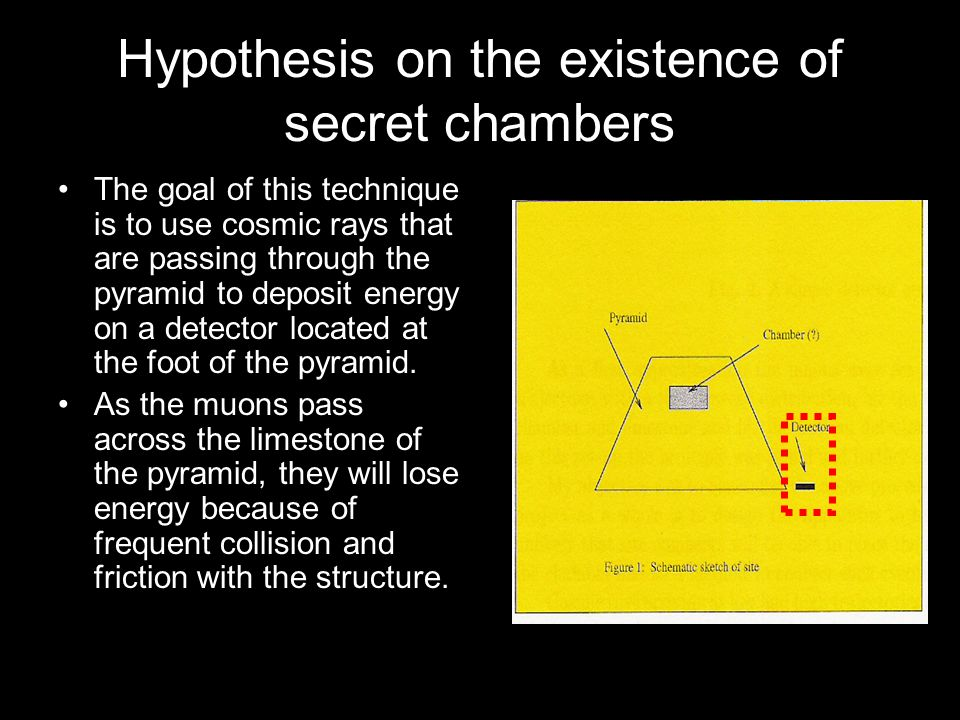 How to identify the existence of a secret chamber We would expect to see a higher rate of incidence on the bottom detector for those particles passing through the existing chamber.
