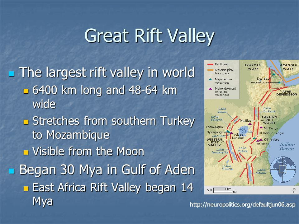 Great Rift Valley The largest rift valley in world The largest rift valley in world 6400 km long and 48-64 km wide 6400 km long and 48-64 km wide Stretches from southern Turkey to Mozambique Stretches from southern Turkey to Mozambique Visible from the Moon Visible from the Moon Began 30 Mya in Gulf of Aden Began 30 Mya in Gulf of Aden East Africa Rift Valley began 14 Mya East Africa Rift Valley began 14 Mya http://neuropolitics.org/defaultjun06.asp