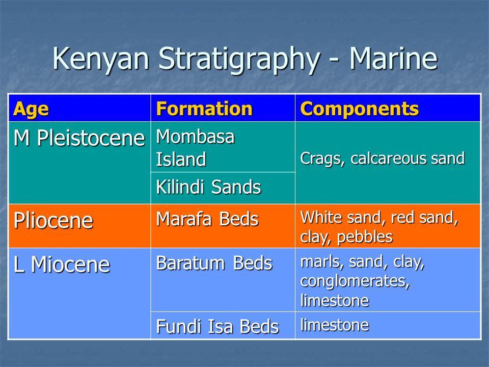 Kenyan Stratigraphy - Marine AgeFormationComponents M Pleistocene Mombasa Island Crags, calcareous sand Kilindi Sands Pliocene Marafa Beds White sand, red sand, clay, pebbles L Miocene Baratum Beds marls, sand, clay, conglomerates, limestone Fundi Isa Beds limestone
