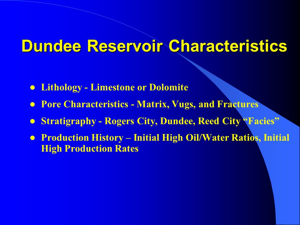 Dundee Reservoir Characteristics l Lithology - Limestone or Dolomite l Pore Characteristics - Matrix, Vugs, and Fractures l Stratigraphy - Rogers City, Dundee, Reed City Facies l Production History – Initial High Oil/Water Ratios, Initial High Production Rates