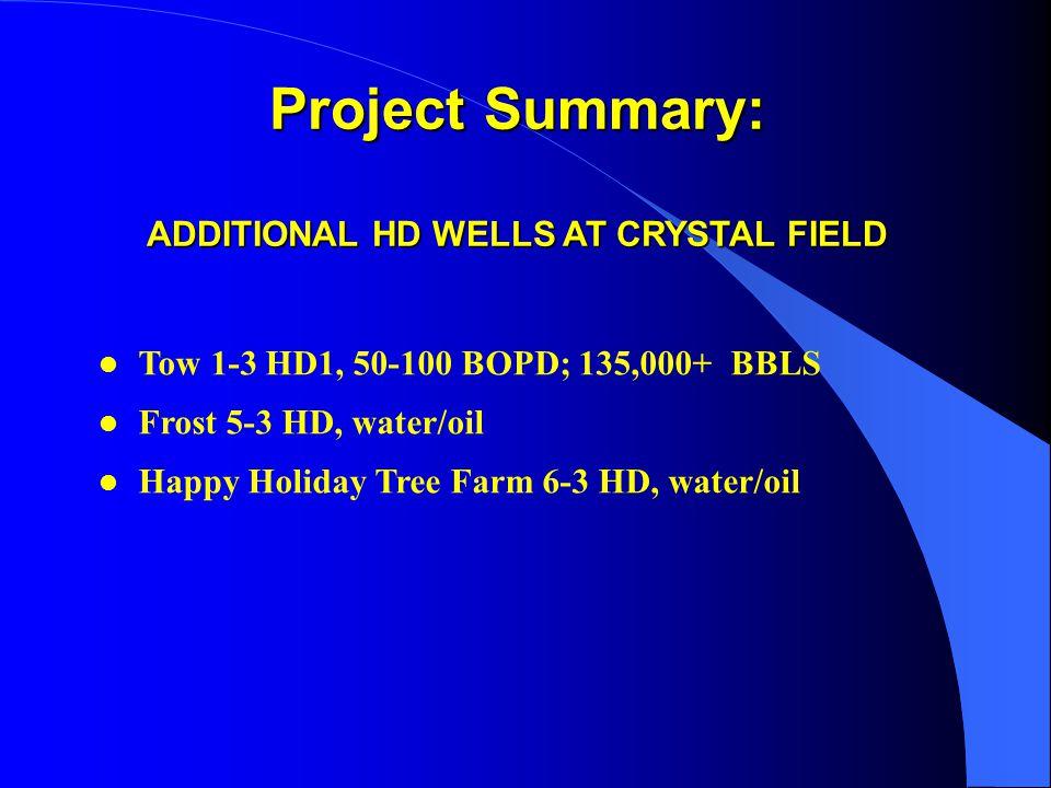 Project Summary: ADDITIONAL HD WELLS AT CRYSTAL FIELD l l Tow 1-3 HD1, 50-100 BOPD; 135,000+ BBLS l l Frost 5-3 HD, water/oil l l Happy Holiday Tree Farm 6-3 HD, water/oil