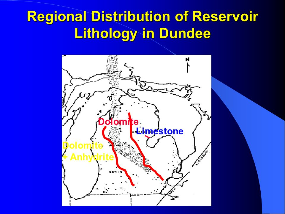 Regional Distribution of Reservoir Lithology in Dundee Limestone Dolomite + Anhydrite
