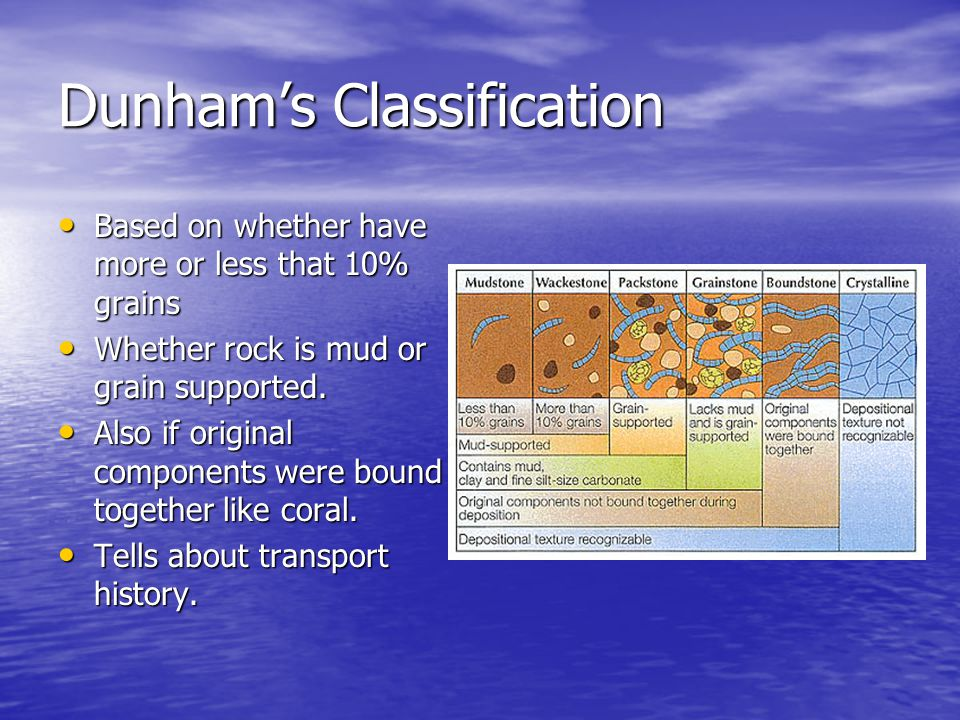 Dunham's Classification Based on whether have more or less that 10% grains Based on whether have more or less that 10% grains Whether rock is mud or grain supported.