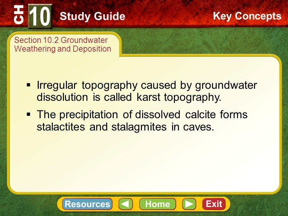 CH Chemical weathering of limestone by water causes the characteristic topography of karst areas.