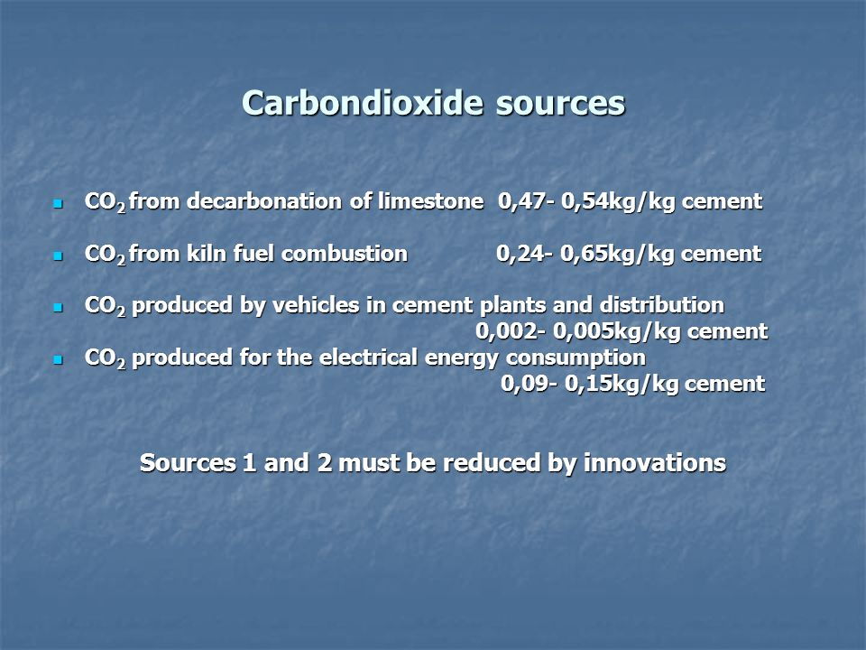 Carbondioxide sources CO 2 from decarbonation of limestone 0,47- 0,54kg/kg cement CO 2 from decarbonation of limestone 0,47- 0,54kg/kg cement CO 2 fro