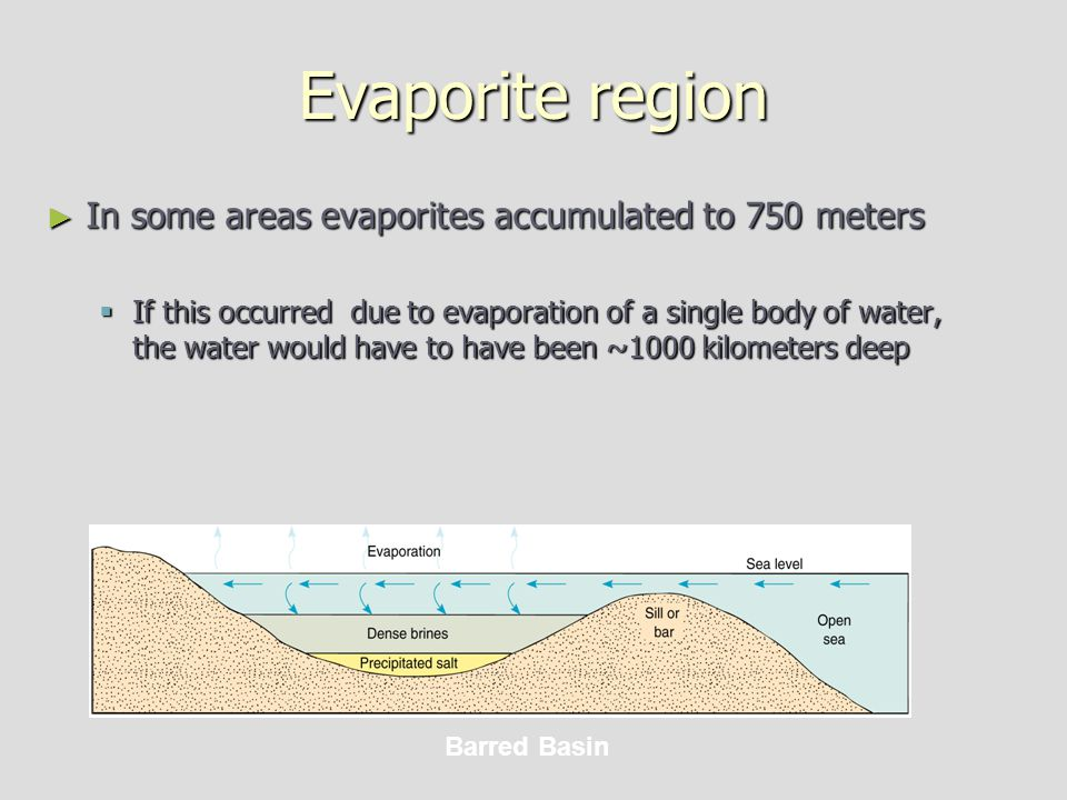 Evaporite region ► In some areas evaporites accumulated to 750 meters  If this occurred due to evaporation of a single body of water, the water would