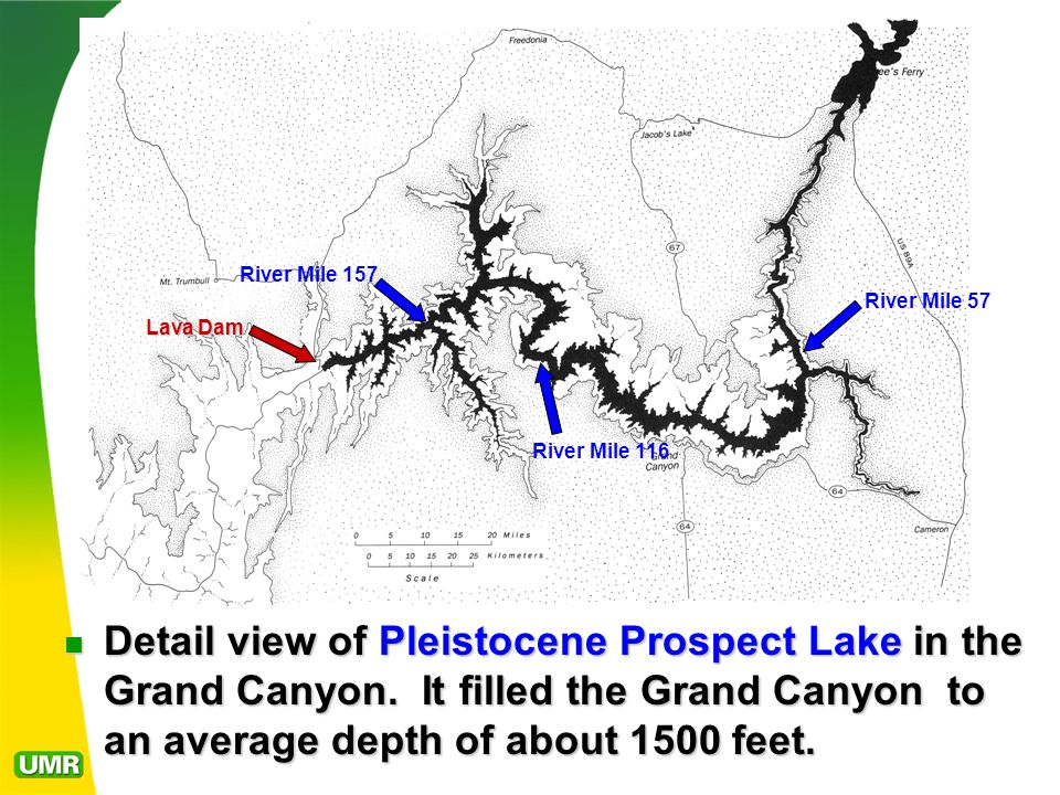 Detail view of Pleistocene Prospect Lake in the Grand Canyon.