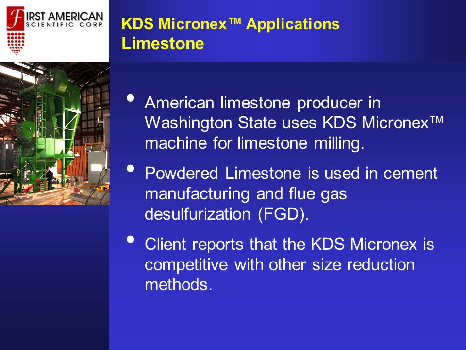 American limestone producer in Washington State uses KDS Micronex™ machine for limestone milling.