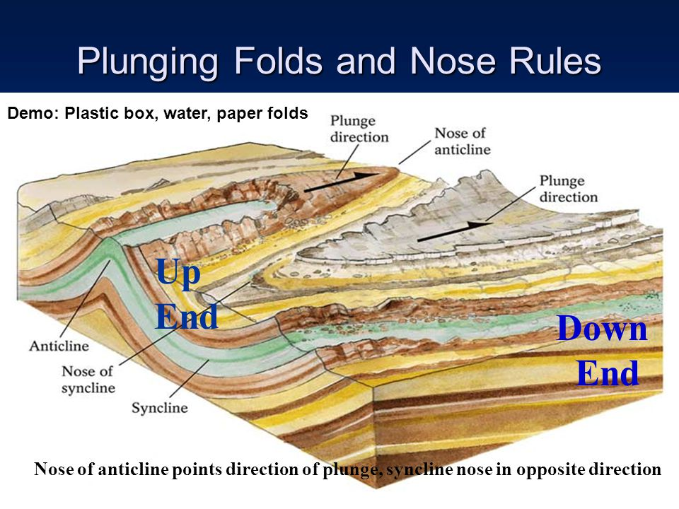 Plunging Folds and Nose Rules Nose of anticline points direction of plunge, syncline nose in opposite direction Up End Down End Demo: Plastic box, wat