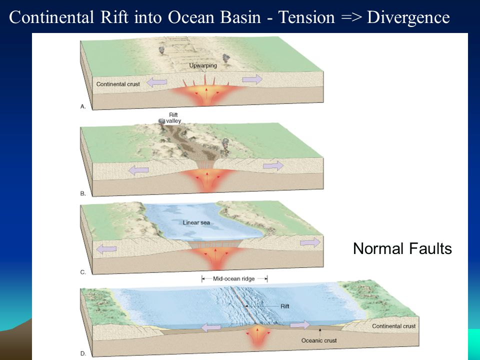 Continental Rift into Ocean Basin - Tension => Divergence Rift Valleys and Oceans are the same thing Normal Faults