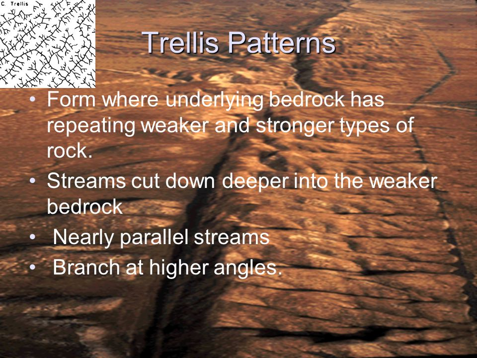 Trellis Patterns Form where underlying bedrock has repeating weaker and stronger types of rock. Streams cut down deeper into the weaker bedrock Nearly