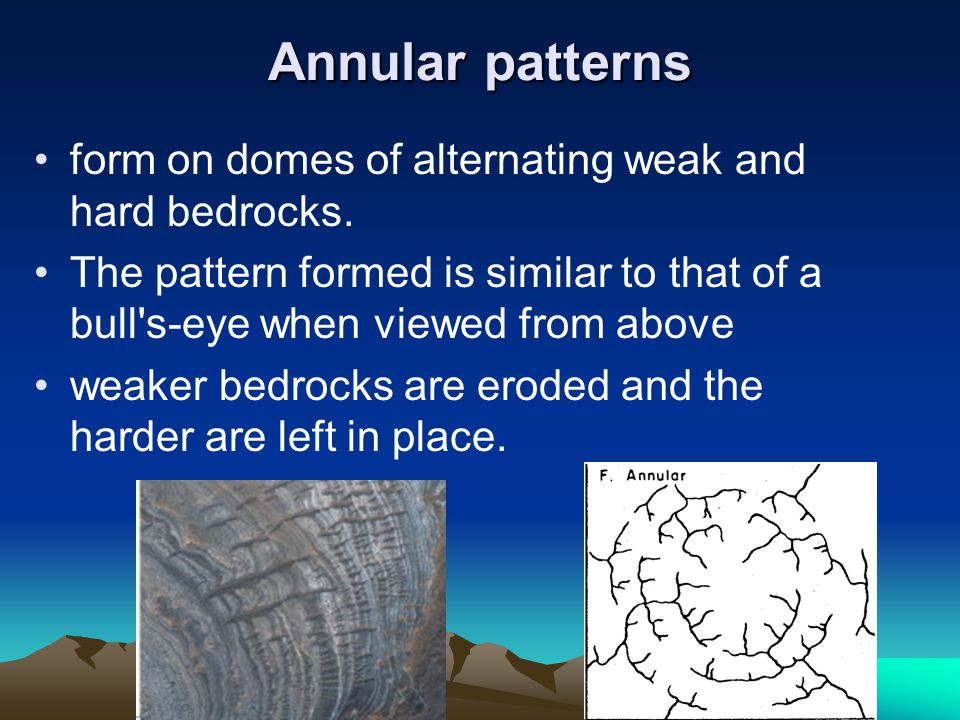 Annular patterns form on domes of alternating weak and hard bedrocks. The pattern formed is similar to that of a bull's-eye when viewed from above wea